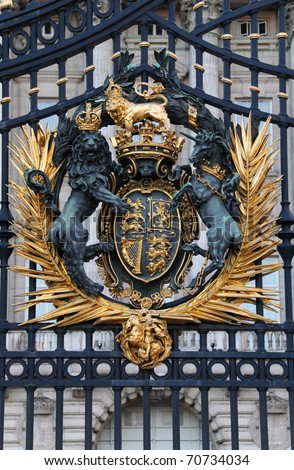 The Royal Seal. Close up of gate at Buckingham Palace.