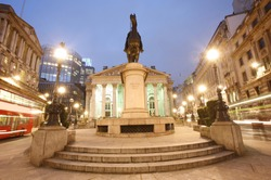 The Royal Stock Exchange, City of London, UK, at night