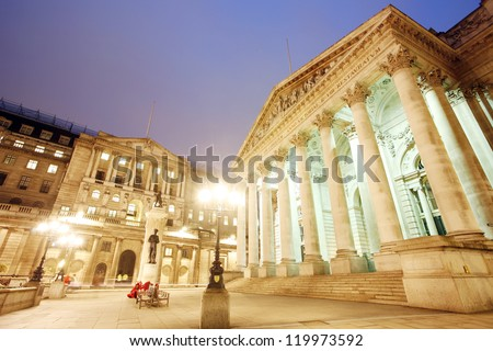 The Royal Stock Exchange, City of London, UK, at night