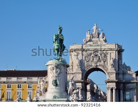The rue Augusta arch and the statue of Sao Jorge in Lisbon in Portugal