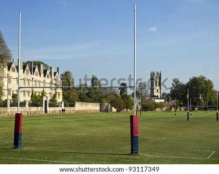 The rugby fields of Christ Church green with Merton College of Oxford University in the background.