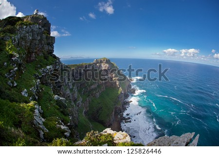 The rugged coastline at the southernmost tip of Table Mountain National Park in South Africa is gorgeous.  This park is extremely close to Cape Town.