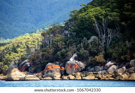 The rugged, granite strewn coastline of Victoria's famous tourist destination, Wilsons Promontory National Park in South Gippsland, Australia.