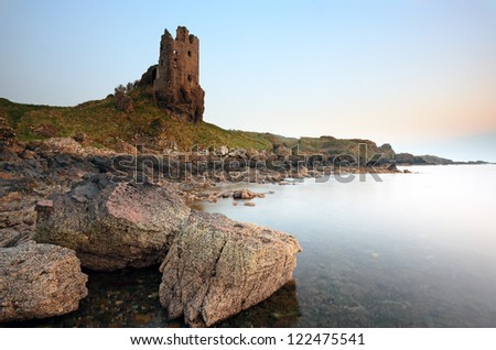 The ruin of Dunure Castle on the Ayrshire coast at Sunset.