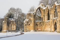 The Ruin of St Mary's Abbey, York, UK under a blanket of snow.