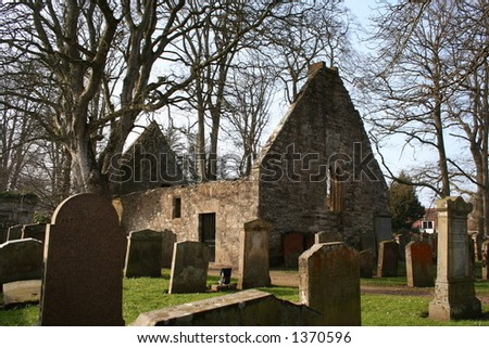 The ruined Auld Alloway Kirk, the setting for Robert Burns' poem 'Tam O'Shanter', in Ayrshire, Scotland