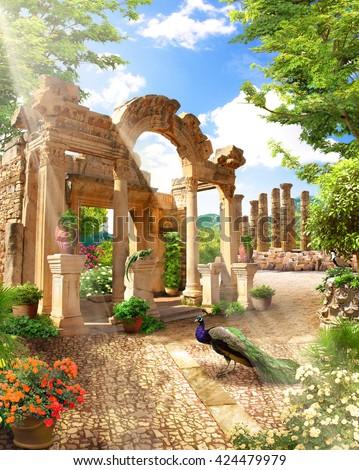 stock photo the ruins in the park 424479979 - Каталог — Фотообои «Балконы, арки»