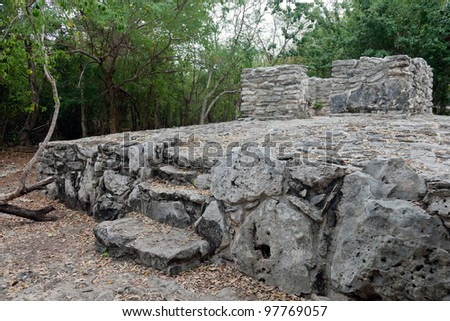 "The ruins of an ancient Mayan town called ""Xaman-Ha"", which means ""waters of the north"" in Playa del Carmen, Mexico."