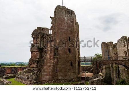 The ruins of an ancient medival castle (Raglan Castle, Wales)