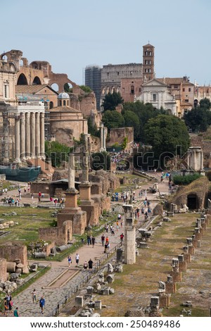 The ruins of Ancient Rome in the Roman Forum, Rome, Italy