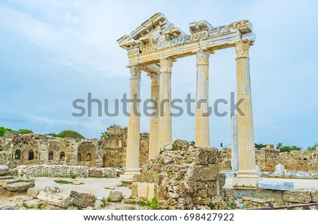 The ruins of Apollo Temple are one of the most romantic places in city, Cleopatra and Mark Antony were met here, so the couples like to spend their time in this site, Side, Turkey.