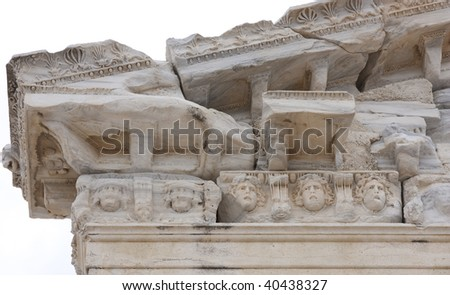 The ruins of Apollo temple in Side, Turkey. Detail.