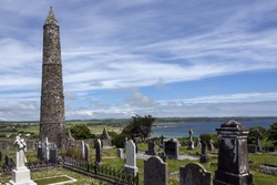 The ruins of Ardmore Cathedral and round tower, County Waterford in the Republic of Ireland.
