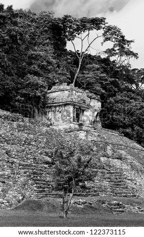 The ruins of buildings of the ancient city of Palenque, Mexico (black and white)