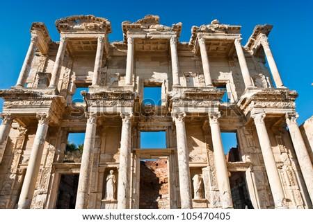 The ruins of Celsus Library in Ephesus