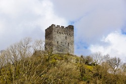 The ruins of Dolwyddelan Castle built in the 13th century by Llywelyn the Great Prince of Gwynedd and North Wales