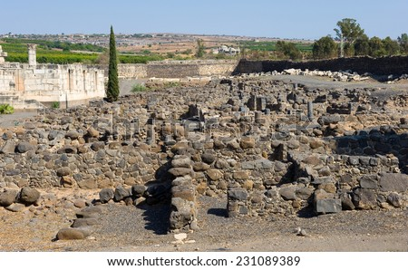 The ruins of houses in the small town Capernaum on the coast of the lake of Galilee Left the Synagogue According to the bible this is the place where Jesus lived and taught