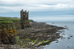 The ruins of Keiss Castle on the Caithness coast in Scotland