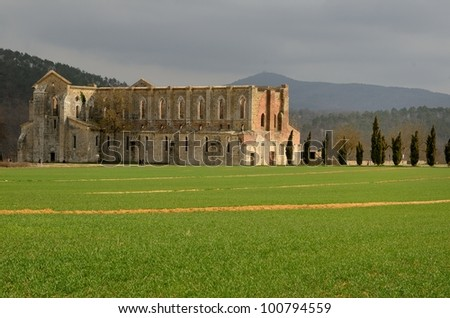 The ruins of San Galgano Abbey in Tuscany