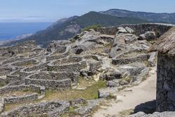 The ruins of the ancient Celtic village in Santa Tecla, Galicia, Spain