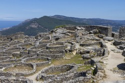 The ruins of the ancient Celtic village in Santa Tecla, Galicia, Spain