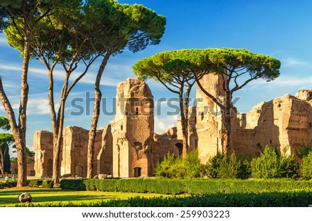 The ruins of the Baths of Caracalla ancient roman public baths in Rome Italy