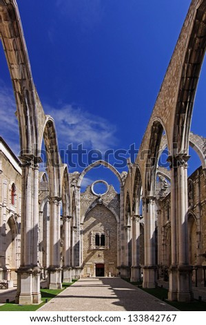 The ruins of the Carmo Church, which was destroyed in the earthquake 1755  Lisbon, Portugal