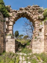 The ruins of the castle Cafarlet (Habonim, Israel). The main gate of the fortress. View from the outside.