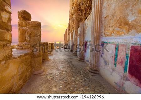 The ruins of the palace of King Herod's Masada at sunset Israel