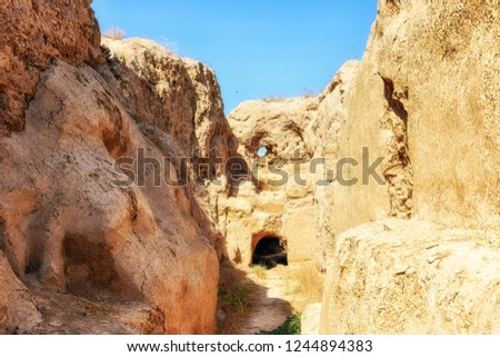 The ruins of the Parthian fortress, Nissa, UNESCO World Heritage Site, Turkmenistan, Central Asia, Asia #1244894383