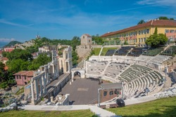 The ruins of the Roman theatre of Plovdiv, Bulgaria. One of the world's best-preserved ancient theatres, constructed in the 1st century under Emperor Domitian
