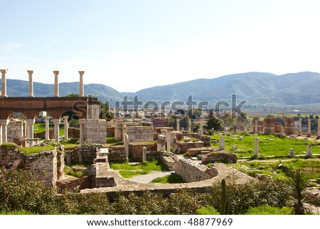 The ruins of the st. Johns Basilica constructed in the 5th Century AD by Emperor Justinian on Ayasuluk Hill, Selcuk, Ephesus, Turkey.