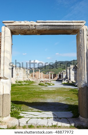 The ruins of the st. Johns Basilica constructed in the 5th Century AD by Emperor Justinian on Ayasuluk Hill, Selcuk, Ephesus, Turkey. - stock photo