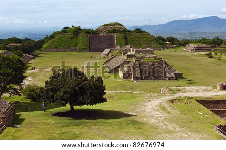 The ruins of the Zapotec city of Monte Alban, Oaxaca, Mexico.