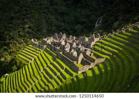 the Ruins of Winawayna in the original inca trail, near to machu picchu, Peru Сток-фото ©