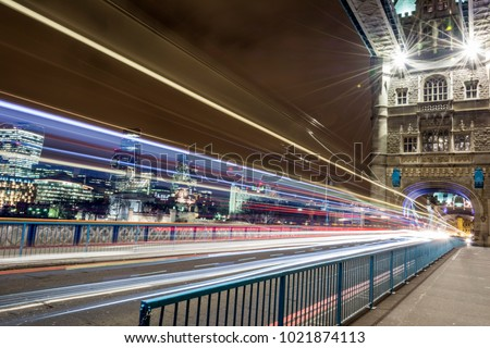 The rush hour at Tower bridge in London