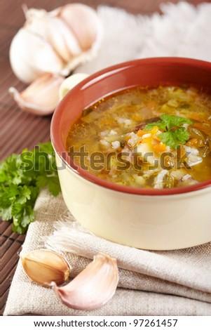 The Russian cuisine. Rassolnik soup