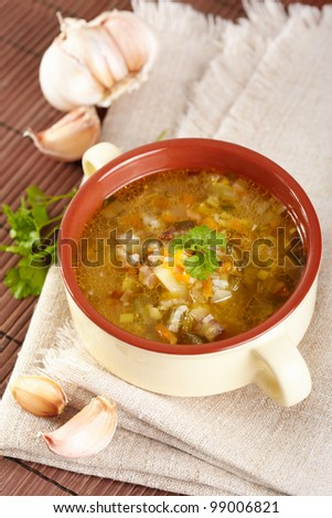 The Russian cuisine. Rassolnik soup