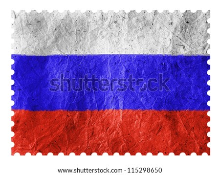 The Russian flag painted on paper postage  stamp