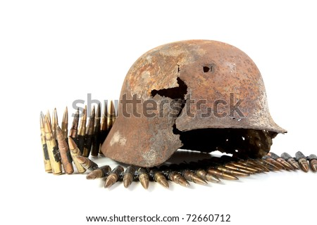 The rusty raked helmet and machine-gun tape on a white background