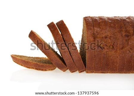 The rye bread slices isolated on white.