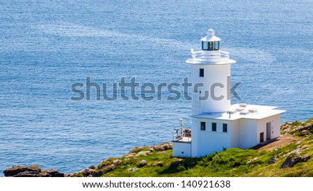 The 1960s Tater Du Lighthouse near Lamorna Cove Cornwall England UK