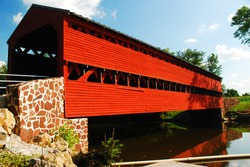 The Sachs Covered bridge crosses a small stream in Gettysburg, Pennsylvania