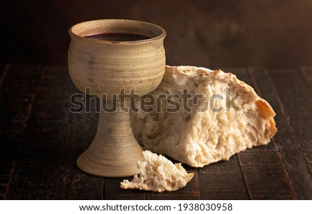The Sacrament of Holy Communion  on a Dark Wooden Table Stock photo ©
