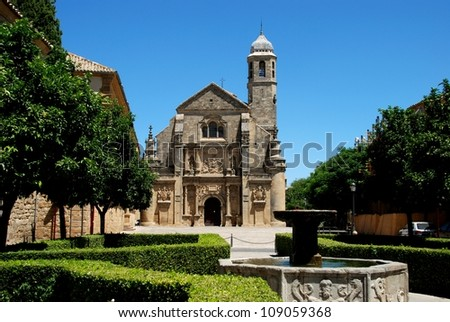 The Sacred Chapel of El Salvador (Capilla del Salvador) and the Plaza de Vazquez de Molina with fountain in foreground, Ubeda, Jaen Province, Andalusia, Spain, Western Europe.