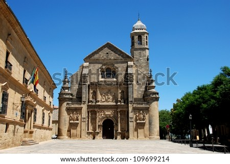 The Sacred Chapel of El Salvador (Capilla del Salvador) in the Plaza de Vazquez de Molina with the Parador hotel to the left, Ubeda, Jaen Province, Andalusia, Spain, Western Europe.