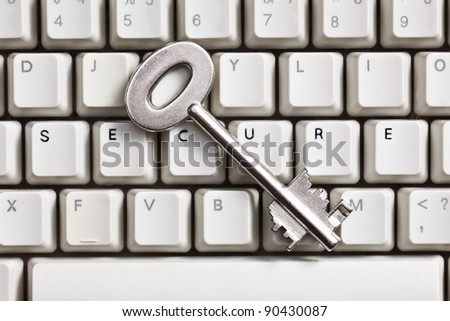 the safe internet.concept with safe key and keyboard