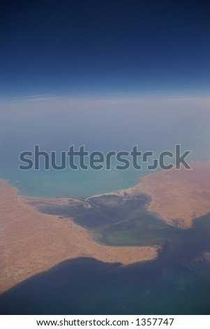 The Sahara coastline from 30.000 feet