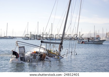The sailboat sank after a serious storm.