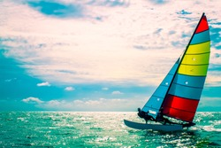 The sailboat, The enjoy activity in summer